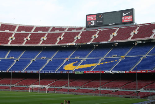 Camp Nou Experience : view of stadium with Gol Sur stands