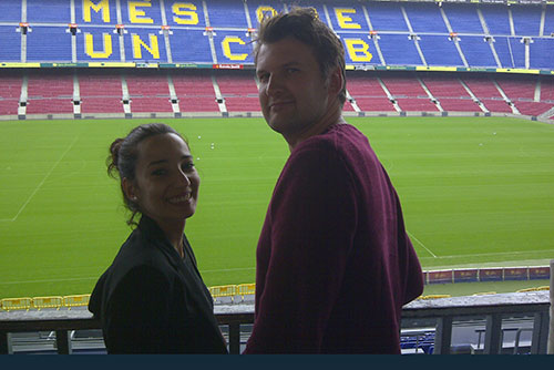 Camp Nou Experience : happy clients posing at the Camp Nou